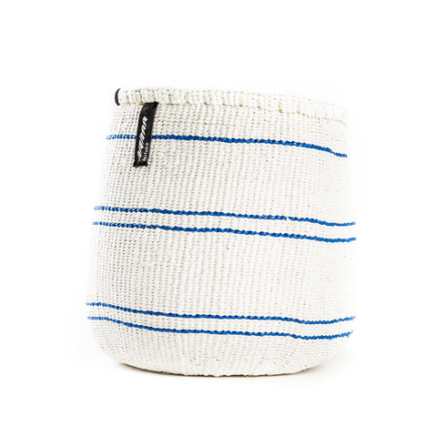 Blue and White Striped Basket