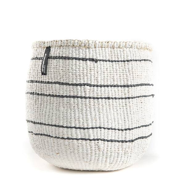 Grey and White Striped Basket