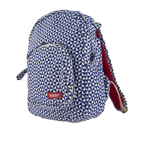 Mini Backpack in Navy & White Geometeric Print