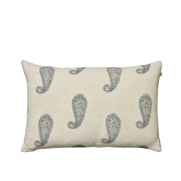 Paisley Blue Linen Cushion