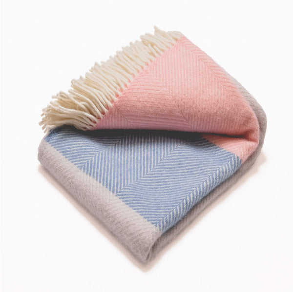 Pink, Blue & Grey Bloc Blanket