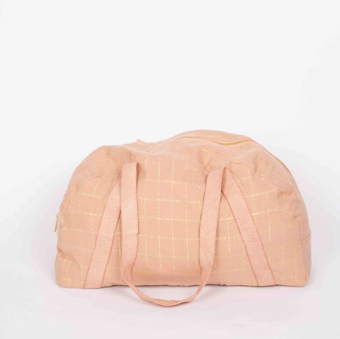Pink & Gold Check Overnight Bag