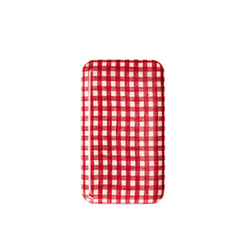 Red & White Gingham Linen Tray Small