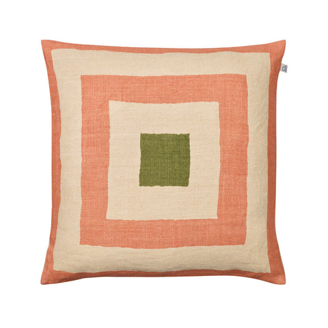 Rose, Beige and Green Linen Cushion
