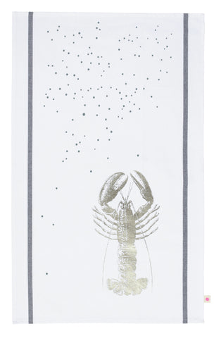Metallic Lobster Tea towel