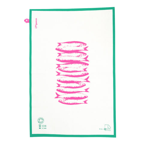 Sardine Tea Towel - Neon Pink & Green