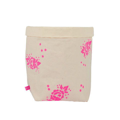 Pink Rose Fabric Storage Basket