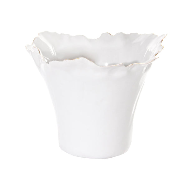 White Fluted Pot with Gold Trim