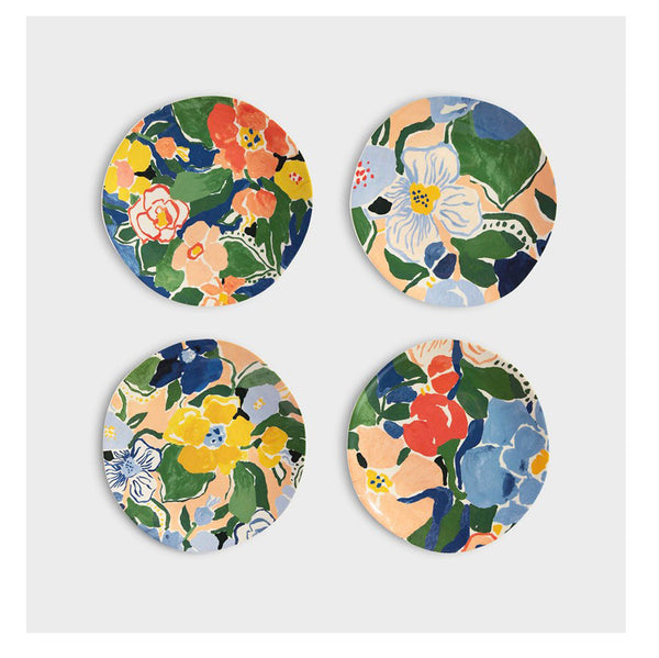 Floral Bamboo Plates (Set of Four)
