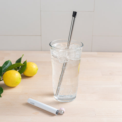 Reusable Drinking Straw white with pink top