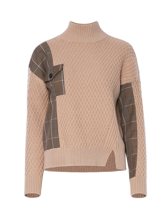 MARYLING Wool Splicing Grid Pattern High Neck Sweater