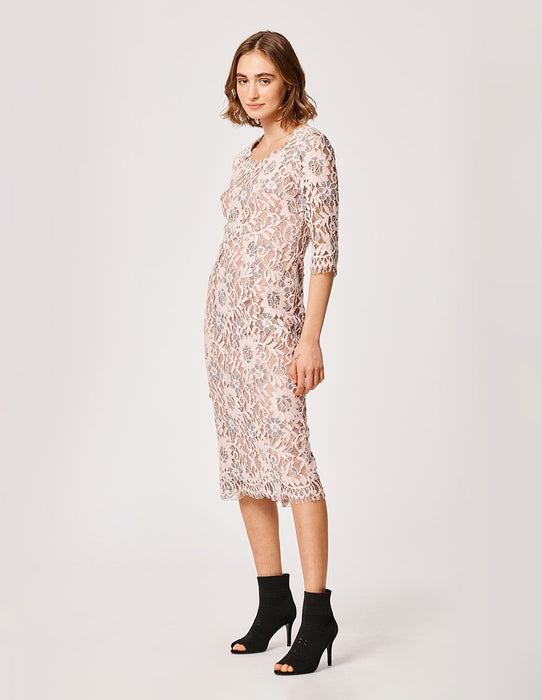 MARYLING Pink V-Neck Lace Half Sleeve Party Dress