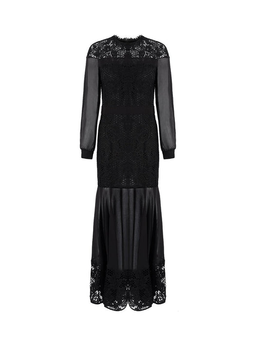MARYLING Lace Ruffle Long Sleeve Maxi Dress