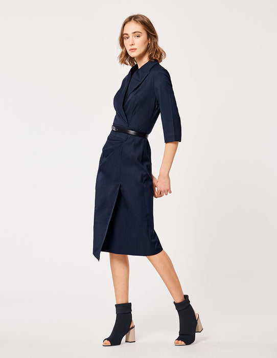 MARYLING Lapel Half Sleeve Belted Knee Length Suit Dress