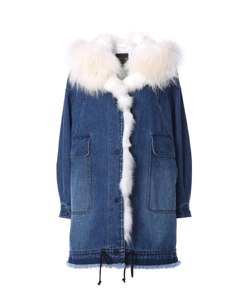 Denim parka with cosy fur lining (5561346588832)