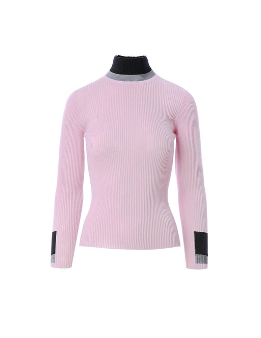 Pastel ribbed knit top with sleeve and cuff contrast pattern (5561347014816)