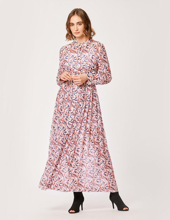 MARYLING Kaleidoscope Print Georgette Long Sleeve Shirt Dress