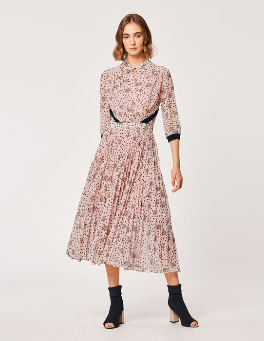 MARYLING Georgette Heart Avocado Pattern Pleat Midi Dress