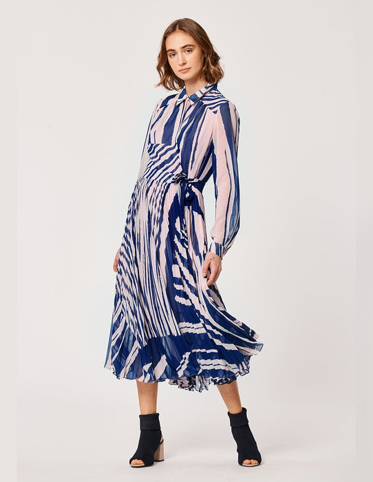 MARYLING Artistic Georgette Stripe Pleat Long Sleeve Shirt Dress