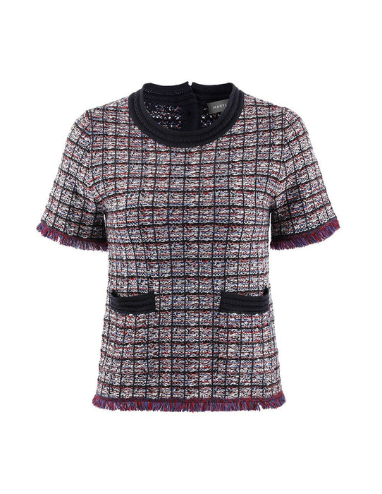 MARYLING Contrast Plaid Piped Tassel Short Sleeve Tweed Blouse