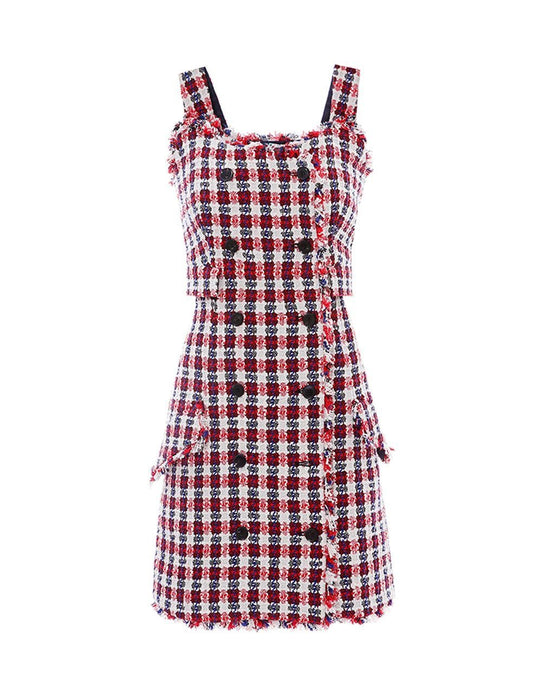 MARYLING Tweed Double Breasted Sleeveless Suspender Mini Dress