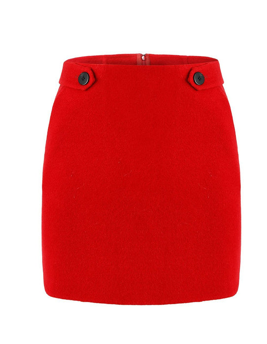 MARYLING Button Design Slim Fit Mini Skirt
