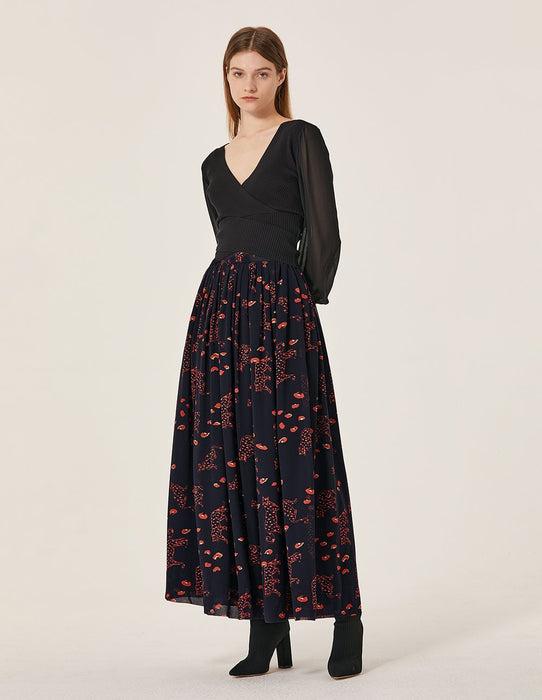 MARYLING Chiffon Leopard Pattern Pleated Maxi Skirt