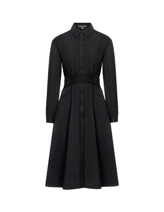 MARYLING Woolen Blend Lapel Collar Long Sleeve Belted Midi Shirt Dress