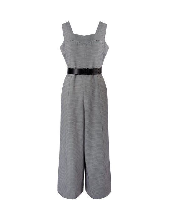 MARYLING Houndstooth Pattern Sleeveless Wide Leg Strap Jumpsuit