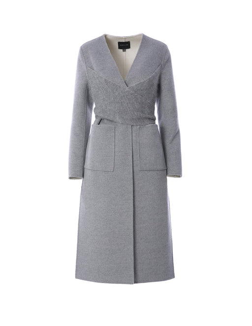 Wool longline coat with pocket detailing and ribbed panel (5561346392224)