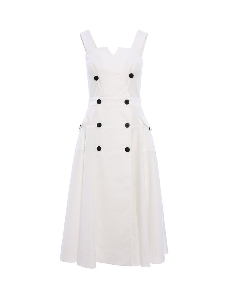 MARYLING Double Breasted Sleeveless Suspender Midi Dress