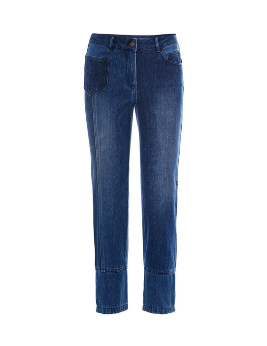 MARYLING Two-Tone Washed Denim Asymmetrical Jeans