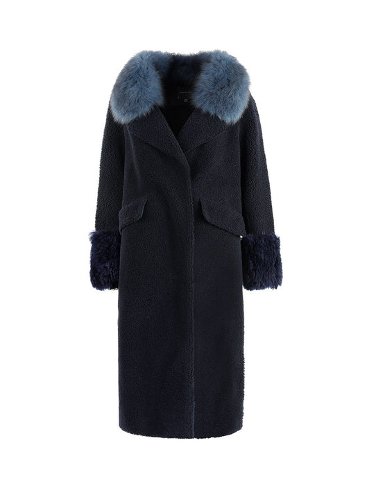 MARYLING Fox Fur Collar Wool Leather Shearing Long Coat