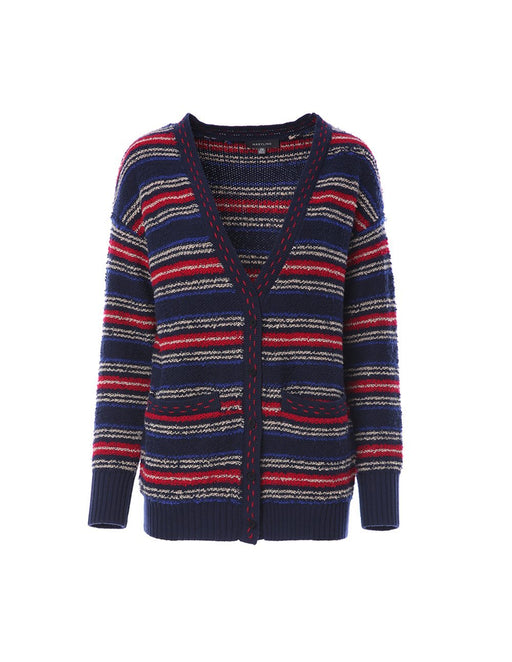 Stripe design knitted cardigan (5561347375264)