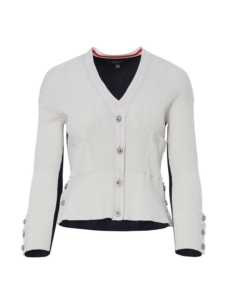 MARYLING Contrast Color V Neck Button Up Slim Fit Cardigan