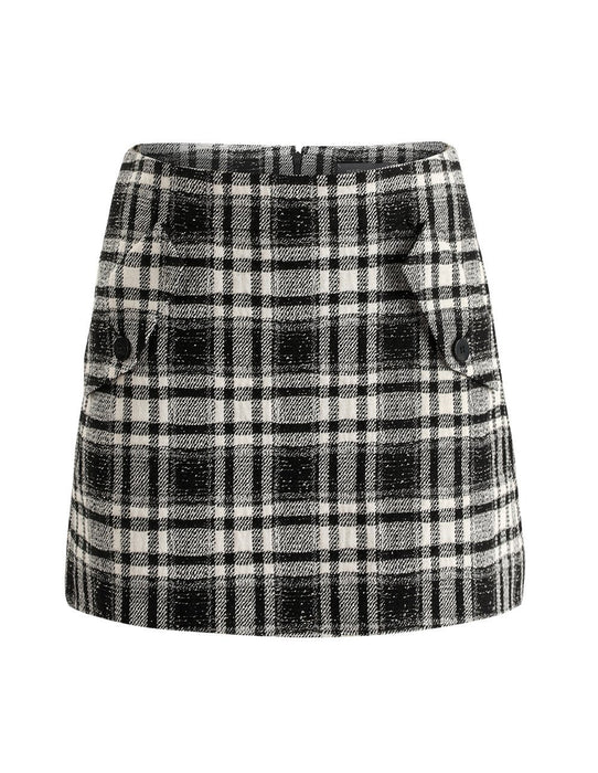 MARYLING Plaid Pattern Woolen Blend Slim Fit Mini Skirt