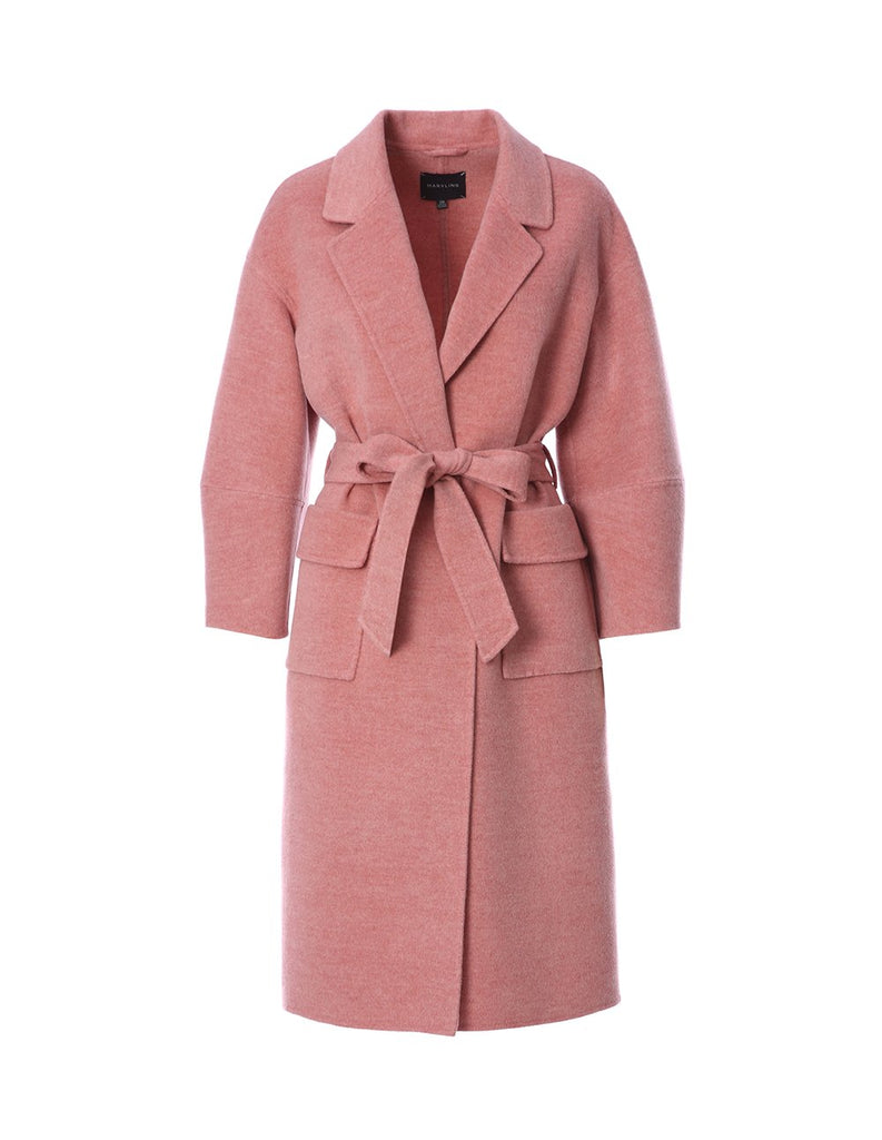 Wool coat with cropped sleeves and tie belt (5561350914208)