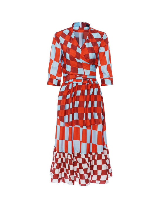 MARYLING Silk Check Pattern Half Sleeve A-Line Midi Dress