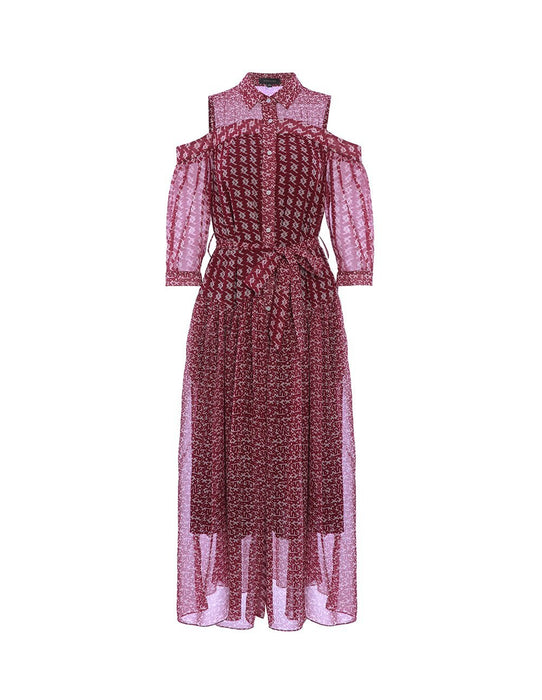 MARYLING Chiffon Houndstooth Pattern Half Sleeve Self Belt Midi Dress