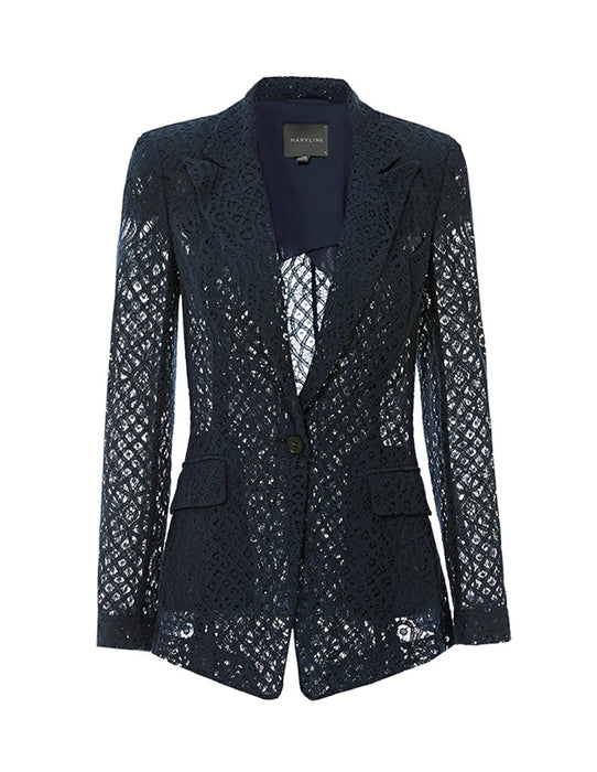MARYLING Classic Slim Fit Lace Mesh Blazer
