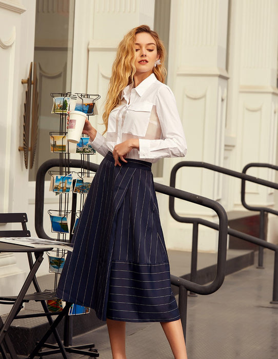 MARYLING Wool Blend Pinstripe A-Line Midi Skirt