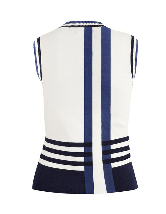 MARYLING Contrast Strip Sleeveless Slim Fit Knit Vest