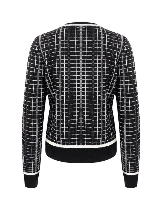 MARYLING Check Pattern Contrast Color Button Up Knit Cardigan