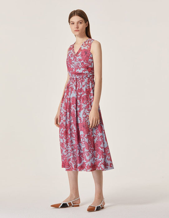 MARYLING Toile Floral Pattern V Neck Sleeveless Midi Dress