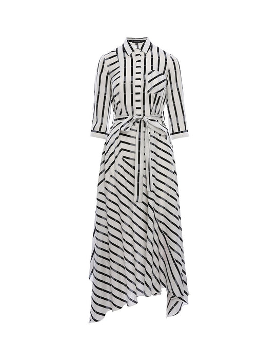 MARYLING Silk Blend Strip Pattern Self Belt A-Line Midi Shirt Dress