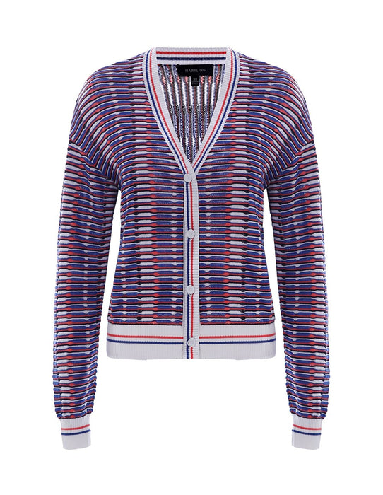 MARYLING Multi-color Stripe Long Sleeve Slim Fit Cardigan