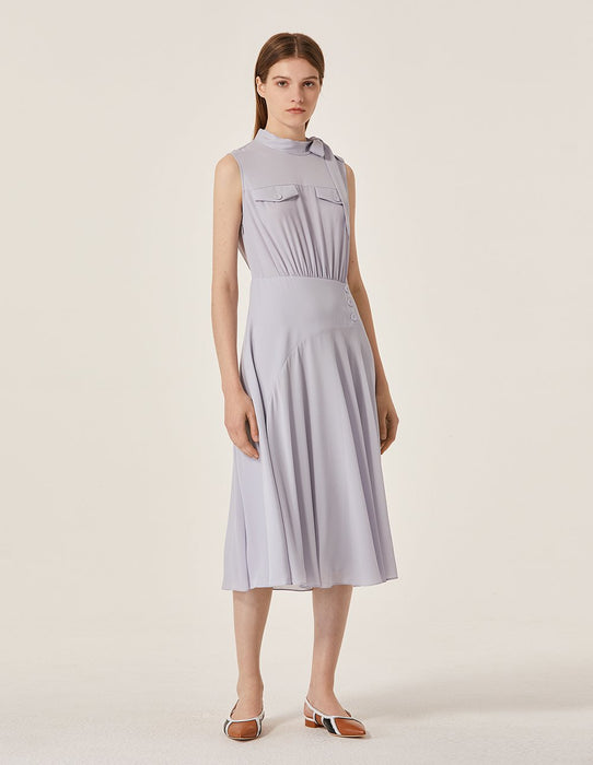 MARYLING Stand Neck Bow Knot Sleeveless A-Line Midi Dress