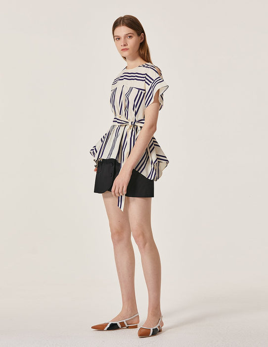 MARYLING Strip Pattern Short Sleeve Tie Belt Loose Fit Blouse