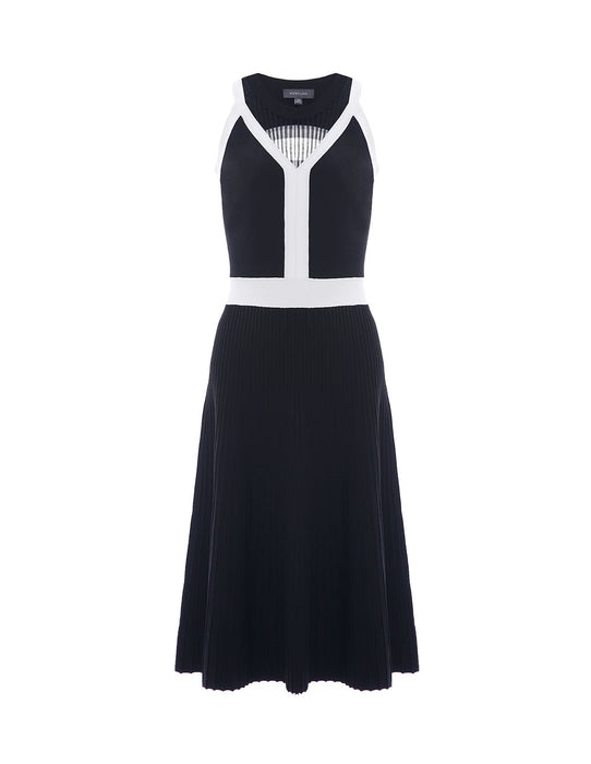 MARYLING Monochrome Sleeveless A-Line Midi Knitted Dress