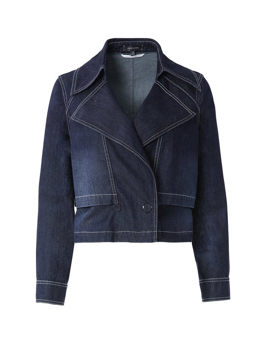 MARYLING Washed Denim Large Lapel Jean Jacket